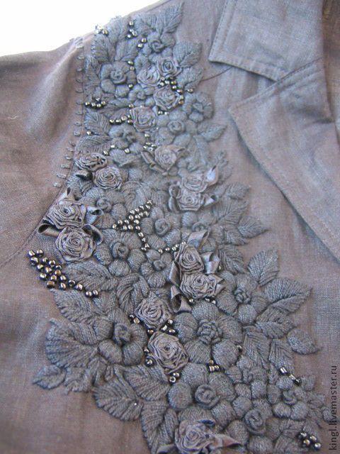 """Купить блуза черная льняная с ручной вышивкой """"Настроение"""" - вышивка ручная, одежда для женщин"""