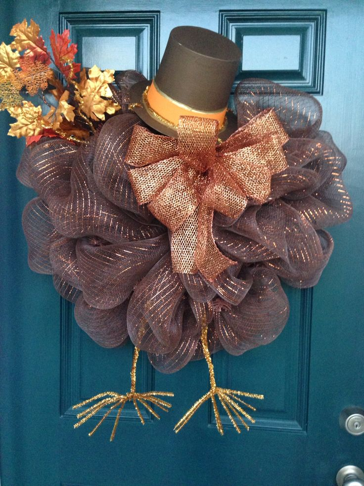 """Turkey deco mesh wreath with hat and feet 26"""" https://www.facebook.com/pages/GGs-Decos/450556885063473"""