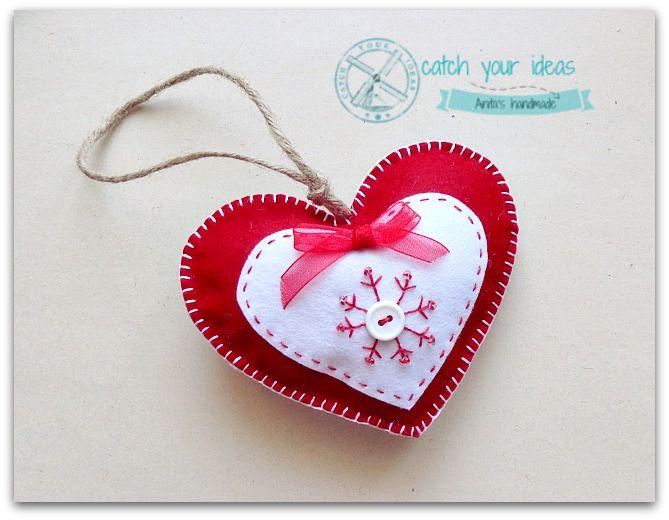 Filcowe serduszko zawieszka rękodzieło, felt heart handmade