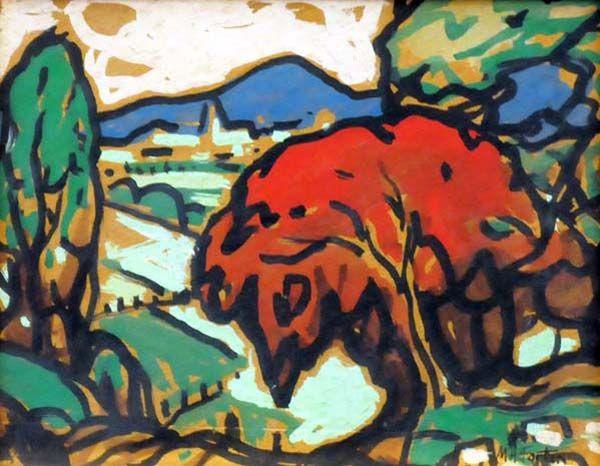 Paysage à l'arbre rouge (c. 1950) - Marc-Aurèle Fortin