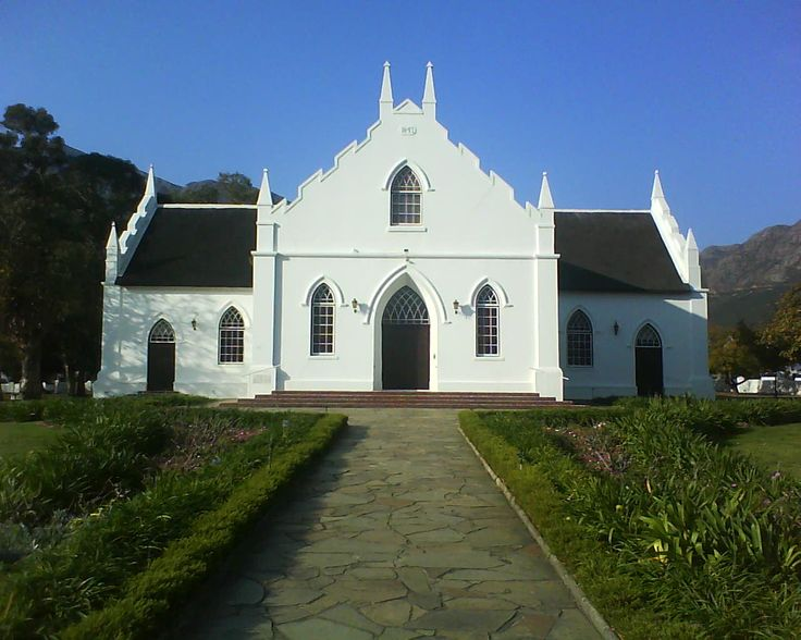 Church in Franschoek, wine-land area of South Africa