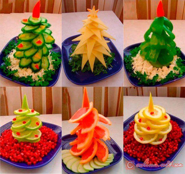 Новогодний стол – красивое украшение блюд с фото