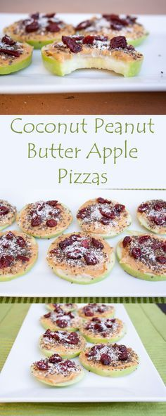 Coconut Peanut Butter Apple Pizzas - These filling, healthy pizzas are perfect for breakfast or a snack.