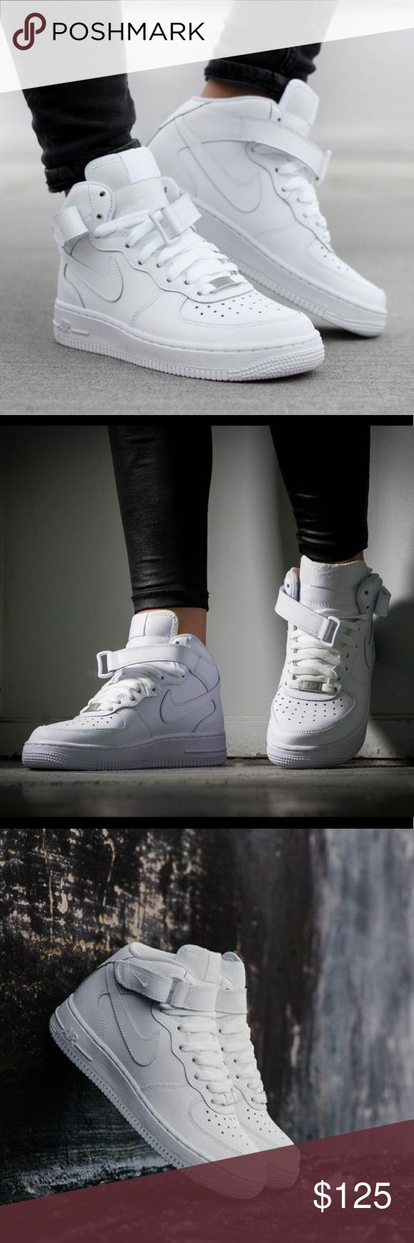 NIKE AIR FORCE 1 MID ALL WHITE SHOES NEW BRAND NEW WITHOUT BOX,  Listed in women's sizing ORDER YOUR WOMENS SHOE SIZE Conversion  5.5 YOUTH = 7 WOMENS  6 YOUTH = 7.5 WOMENS  6.5 YOUTH = 8 WOMENS  7 YOUTH = 8.5 WOMENS   ALL SIZES ARE LISTED ACCORDING TO NIKES SIZE CHART WHICH I ADDED ABOVE FOR YOUR Convenience.   Ships same day or next.  Price is firm.  100% authentic & direct from Nike Nike Shoes Sneakers