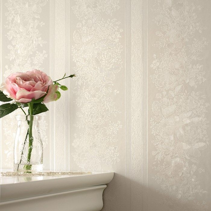 Floral Stripe Cream Shimmer Wallpaper by Graham and Brown