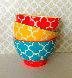 Colorful Snack Bowls  Set of 3  yellow bowl by Butterflykilns
