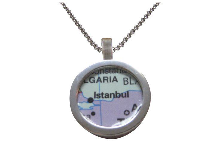 Istanbul Turkey Map Pendant Necklace