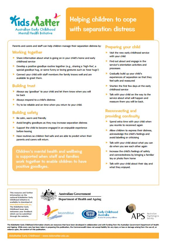 Top tips: Helping children to cope with separation distress. Information sheets for families and ECEC staff.