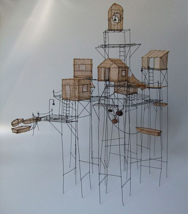 Wire and paper floating habitats by Isabelle Bonte