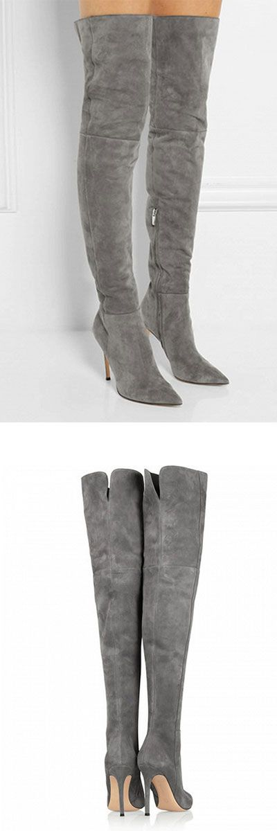 "Gray Suedette Split Back Heeled Over the Knee get it at a discounted price - use this exclusive code ""pinSHA6PK20off"" to get 20% off."