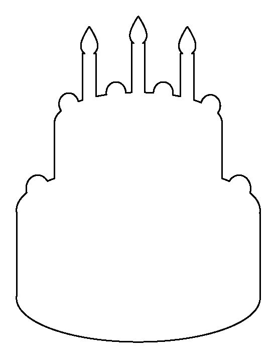 Outline Images Of Cake : Birthday cake pattern. Use the printable outline for ...