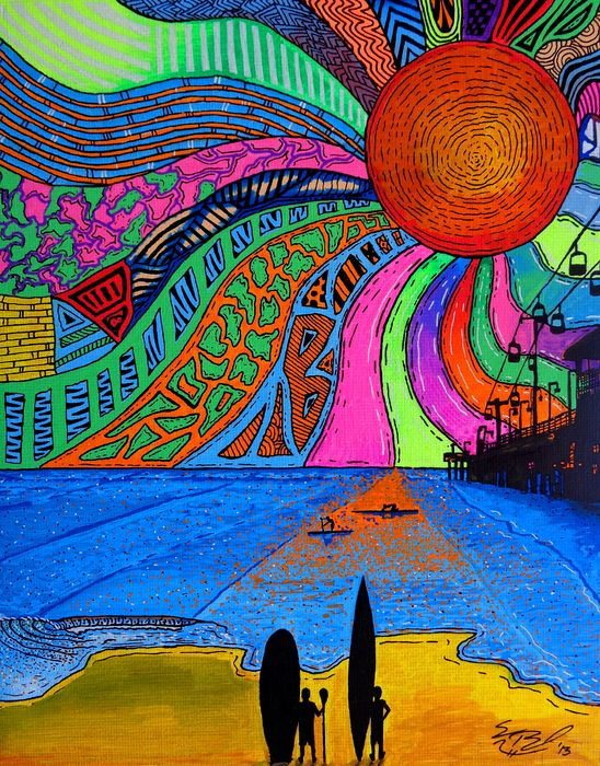 Daytona Daze, acrylic paint pens on canvas panel, artist Sam Bernal