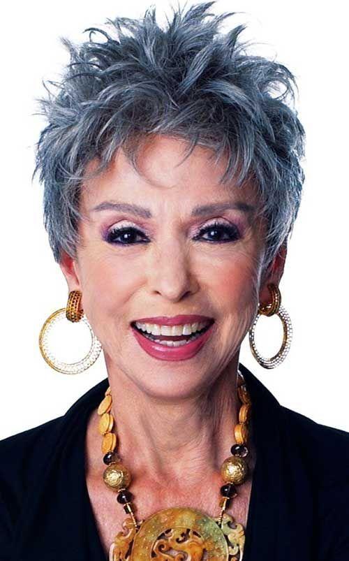 Messy Gray Pixie Hair for Older Ladies