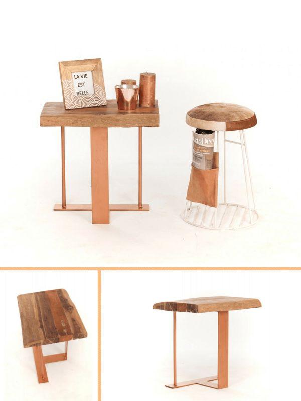 Bout de canapé bois & cuivre  http://www.homelisty.com/sweet-mango-meubles-cuivre-bois/