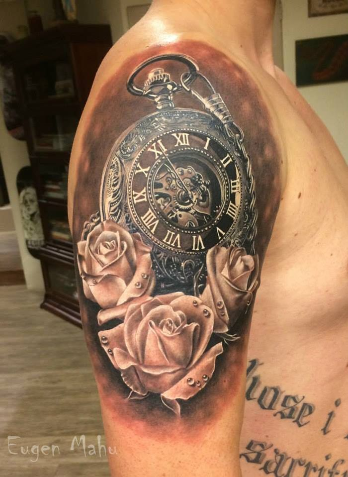 Realistic Pocket Watch With Roses Tattoo On Man Right Shoulder