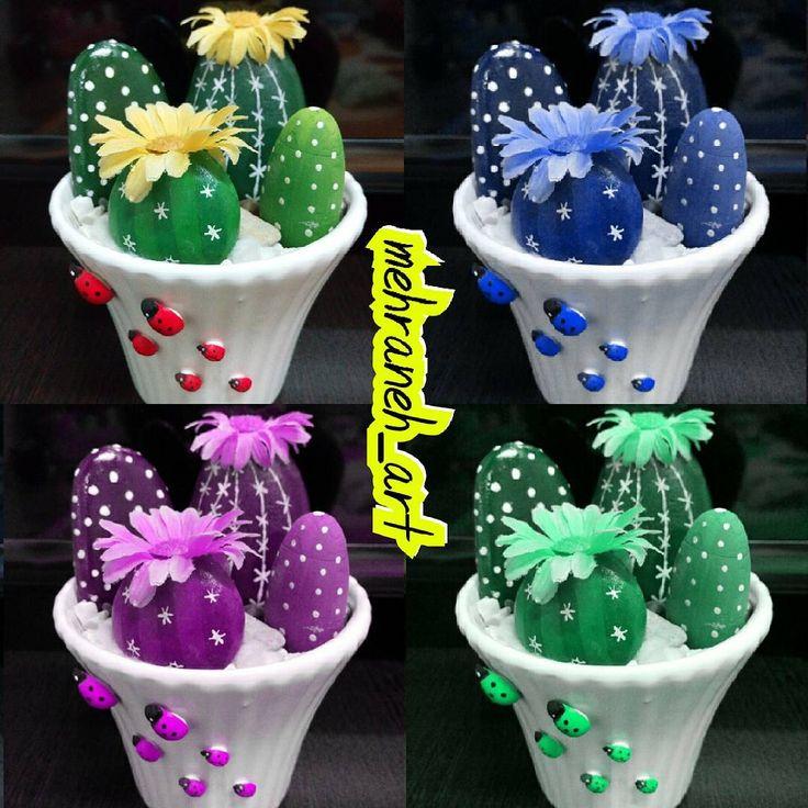 Cactus de piedra y macetas decoradas a juego