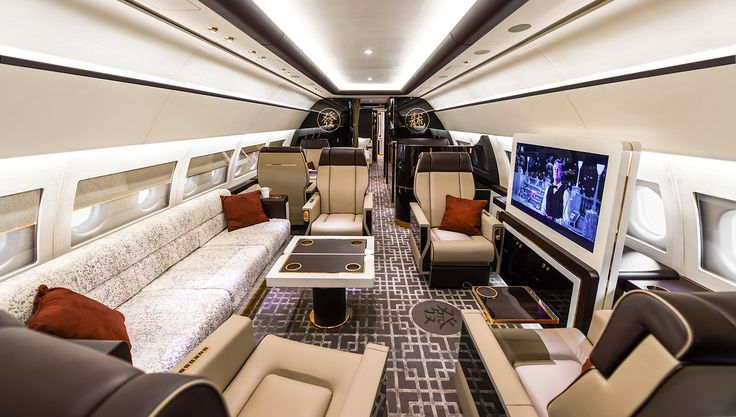 The custom Airbus ACJ319 interior features five individual private mini-suites…