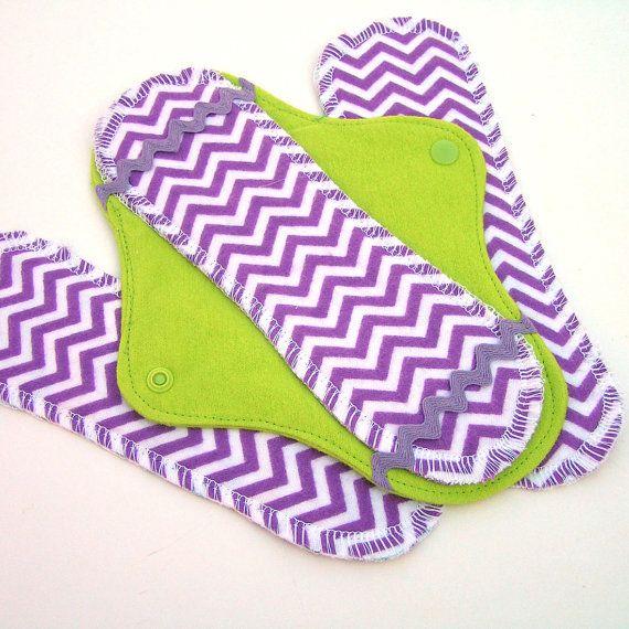 JazzyPads Cloth Menstrual Pad Set mini purple lime by tamarack