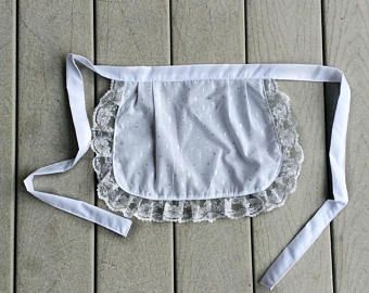 Check out Small White Apron, Sparkly Silver Lace, Pretty French Maid Costume apron, House warming gift for Her, Old Fashioned Apron for Costumes on blingscarves
