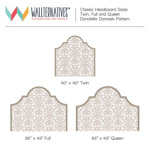 Chic and Elegant Damask Pattern Headboard Removable Wall Decals for Bedroom Decorating - Wallternatives
