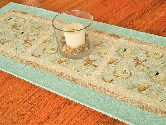 Seashells Table Runner In Aqua And Brown Quilted Table Runner