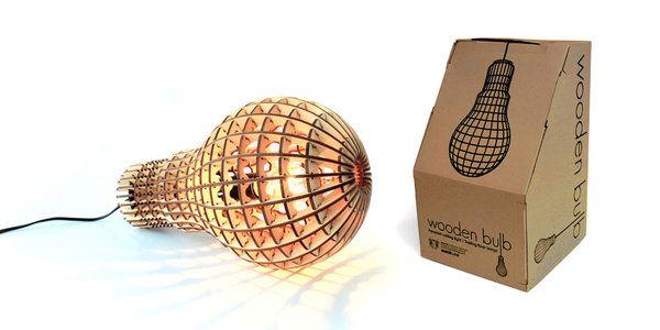Wooden bulb hanging light designed by Barend Hemmes