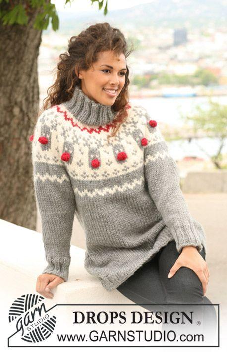 "DROPS jumper with raglan and reindeer pattern on yoke in ""Eskimo"". ~ DROPS Design"