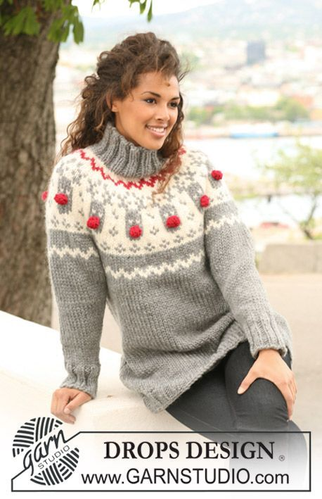 "DROPS jumper with raglan and reindeer pattern on yoke in ""Eskimo"". ~ DROPS Design"