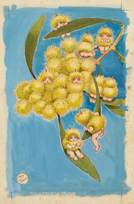 "May Gibbs - Fly leaf from Wattle Babies 1918.Cecilia May Gibbs MBE (17 January 1877 – 27 November 1969) was an Australian children's author, illustrator, and cartoonist. She is best known for her gumnut babies (also known as ""bush babies"" or ""bush fairies""), and the book Snugglepot and Cuddlepie."