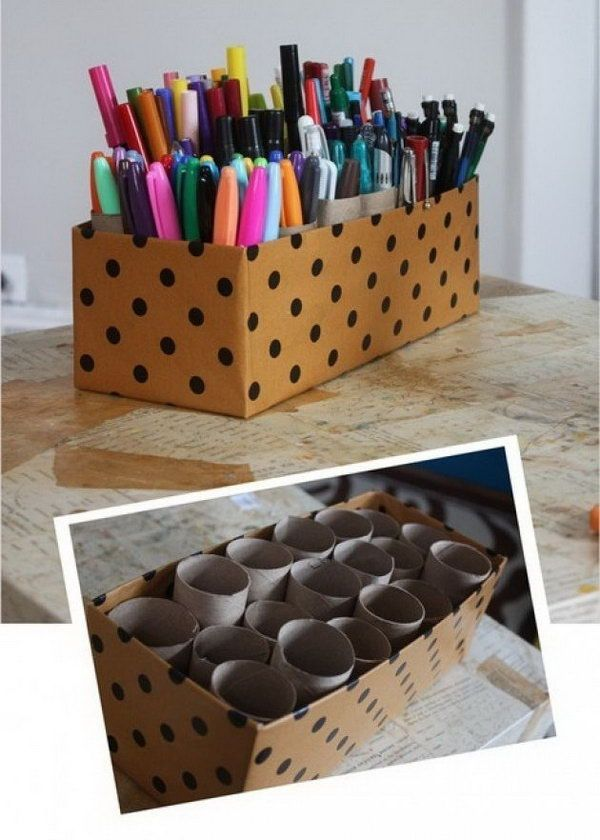 Make an organizer with shoe box and toilet paper tubes,