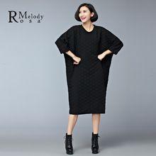 2015 женские платья в европейском стиле свободного покроя зимой толстые хлопок черный серый Большой размер длиной до колен платье vestidos ( r. Мелодия DS0158 )(China (Mainland))