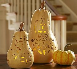 Harvest Filigree Ceramic Gourd Luminary, Small great centerpieces