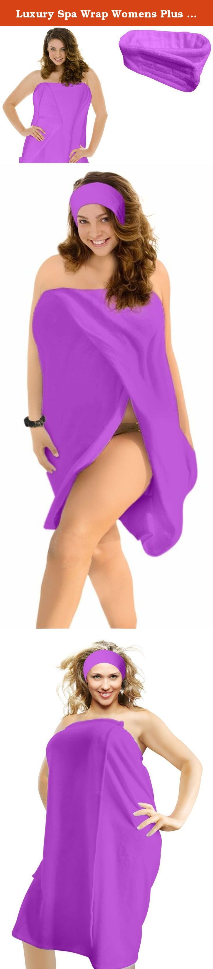 Luxury Spa Wrap Womens Plus Size Snap Bath Towel Wrap (4XL Plus Size 3X 4X, Purple). Finally a graceful luxurious spa wrap that fits not only womens standard size but also plus size women beautifully without wardrobe malfunctions! Available in soft cotton terry velour with adjustable snap close at front (not more scratchy velcro) and elastic for a comfortable fit. Also popular as a swim cover up, dorm gown, gym bath wrap ... you may find yourself wanting to stay in this all day long…