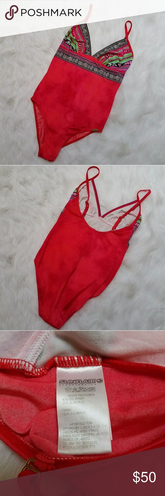 Sunflair one piece swimsuit EUC Red tie dye Sunflair one piece swimsuit, v neck, adjustable spaghetti straps, size 10 medium, gorgeous boho pattern on cups, retails for $160, excellent used condition no signs of wear Sunflair Swim One Pieces