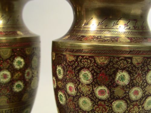 c-1930s-Raj-INDIA-Enameled-Brass-Pair-Vases