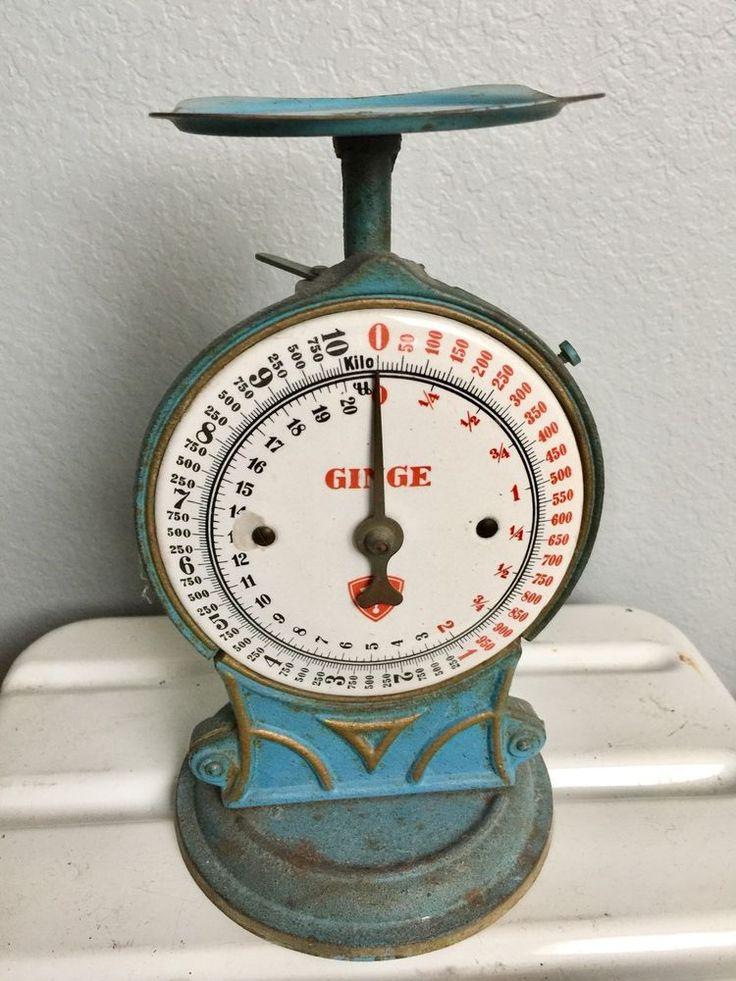 Antique VTG GINGE Blue Cast Iron Danish Kitchen Scale Early Paint aafa Rare Old #Scandinavian #GINGE