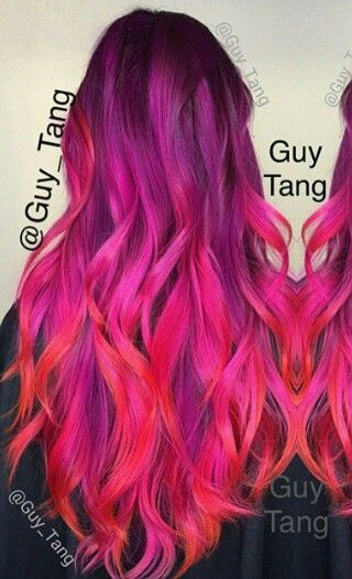 Purple pink ombre hair