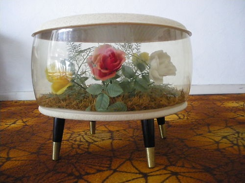 50s 60s Vintage Retro Inflatable Terrarium Stool