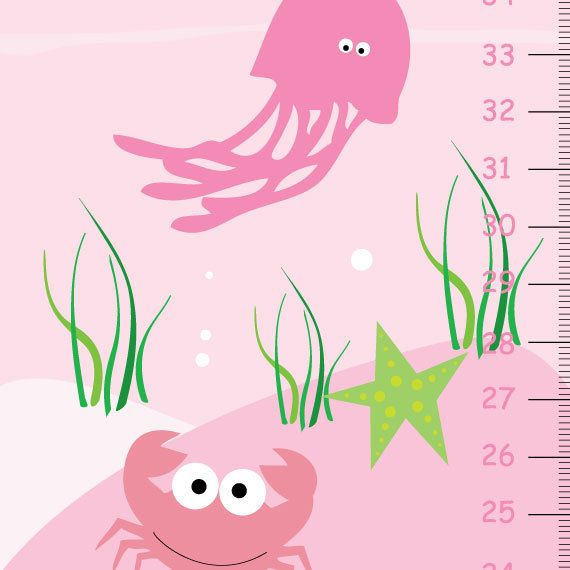 Personalized Pink Ocean Sea Life Growth Chart by KidODesignStudio, $35.00