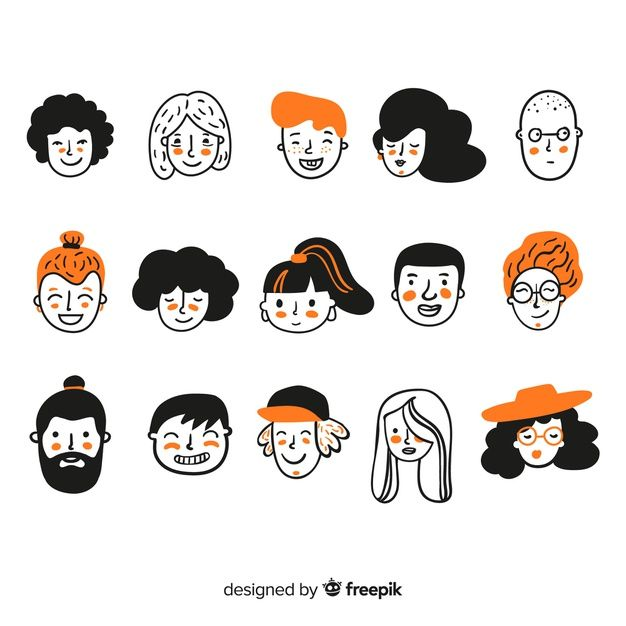 Hand drawn people avatar collection Vector | Free …