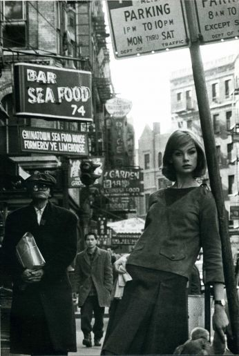New York Street Style Fashion 1962 - Jean Shrimpton - wow - that David Bailey feller knew what he was doing and dig the Teddy Bear
