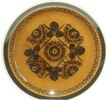 Retro 1960s 'Sera' pattern side plates designed by Inger Waage for Stavangerflint, Norway