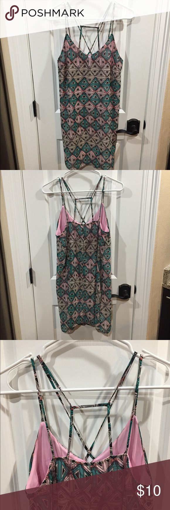 Body Central Geometric Pattern Dress NWOT Pink and green geometric pattern with cute criss cross straps in front and back. Body Central Dresses
