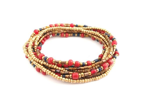 Beaded wrap bracelet marsala red gold dark blue by AccessoriesByLO