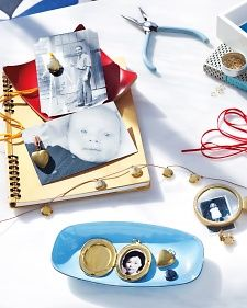 Create instant heirlooms for all your loved ones this Valentine's Day by tucking favorite family photos inside inexpensive lockets (and presenting them on cards made from snapshots).