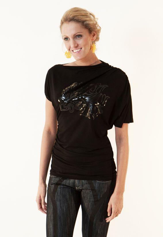 Draped black top with black print