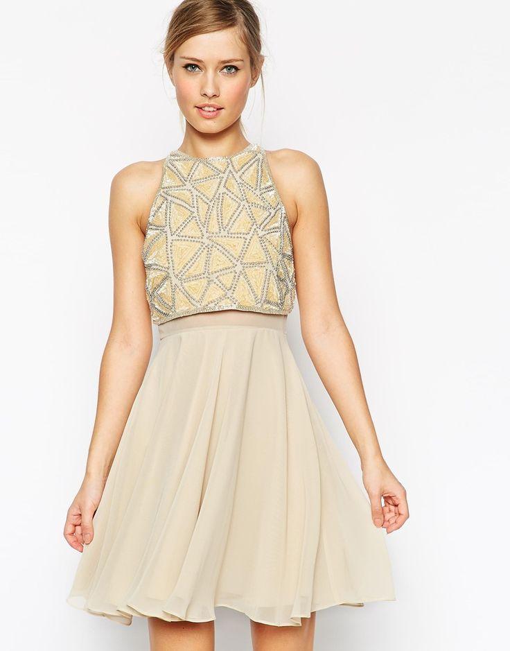 asos embellished crop top skater dress at asos com kleider