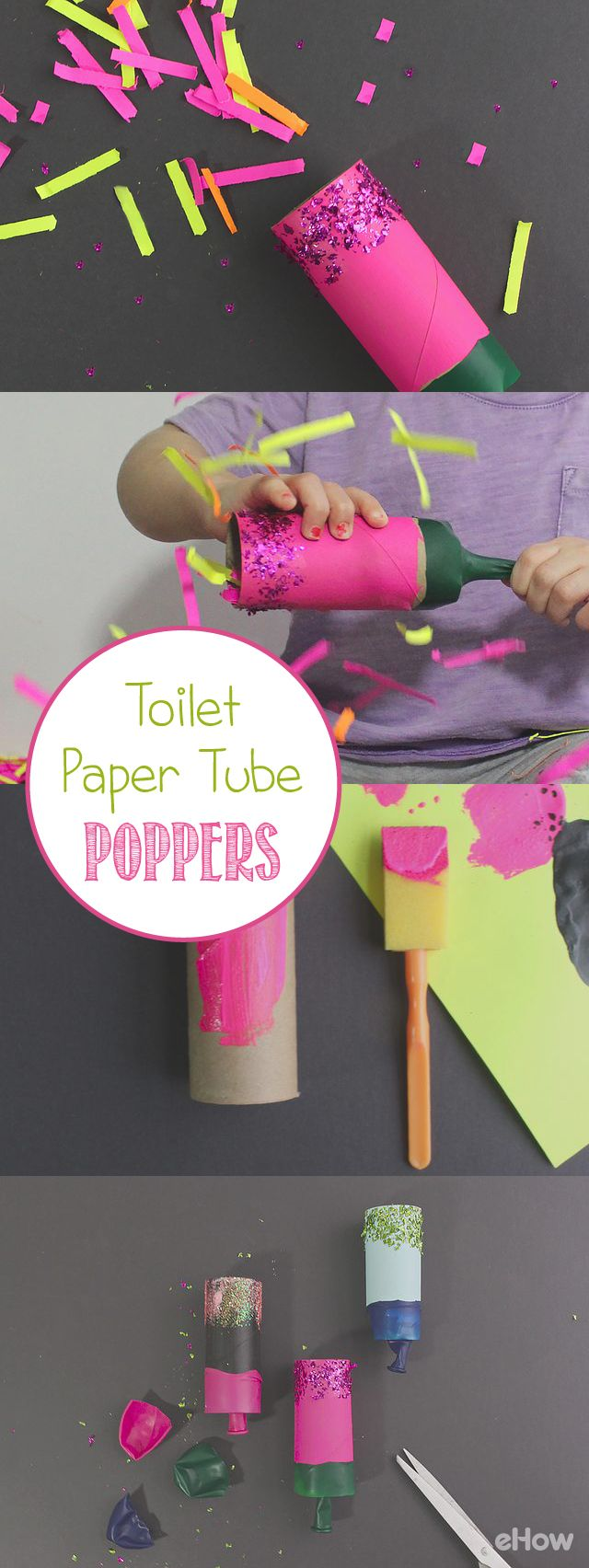 Take empty toilet paper roles and turn them into fun party poppers!