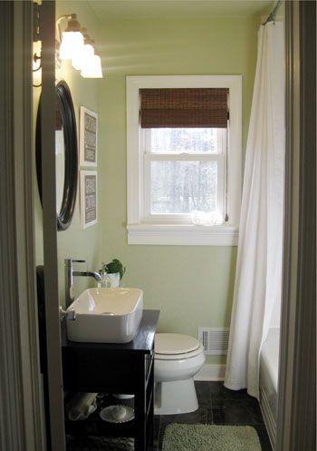 Small Bathroom Idea. Love the color Benjamin Moore Dune Grass