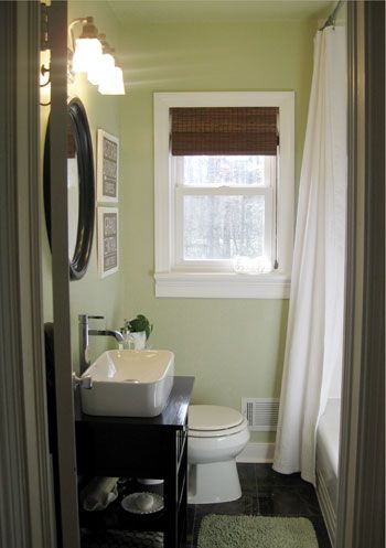 Small Bathroom Idea. Love the color Benjamin Moore Dune Grass: Bathroom Color, Small Bathroom, Guest Bathroom, Modern Bathroom, Wall Color, Bathroom Ideas, Shower Curtains, Paintings Color, Benjamin Moore